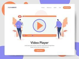 Modelo de página de destino do conceito de ilustração do player de vídeo