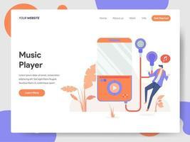 Modelo de página de aterrissagem do conceito de ilustração do Music Player