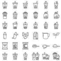 Chá da bolha ou conjunto de ícones de linha de chá de leite pérola vetor