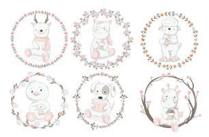 Conjunto de animais bebê com bordas florais