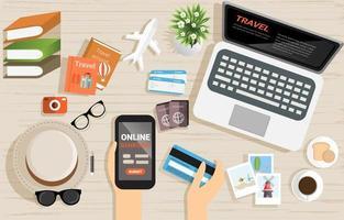 Vista superior do conceito de pagamento de serviços bancários on-line vetor