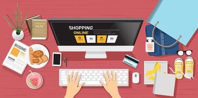 Vista superior do conceito de compras on-line vetor