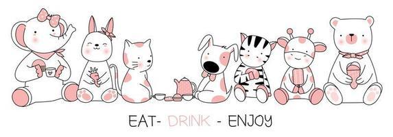 Coma a bebida apreciam animais bonitos cartão design