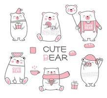 Conjunto de mão desenhada bebê fofo urso