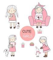 Conjunto de linda garota com estilo de mão desenhada de estimação