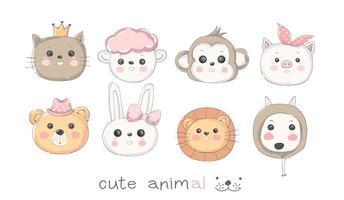 Conjunto de ícones de animais bebê fofo