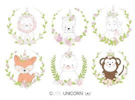 Unicórnios de bebê em quadros florais mão desenhado conjunto