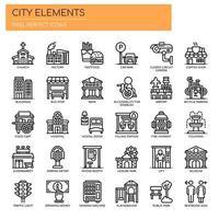Conjunto de ícones de elementos de cidade fina linha preto e branco vetor