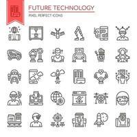 Conjunto de ícones de tecnologia futura de linha fina preto e branco
