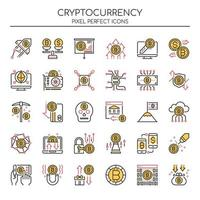 Conjunto de ícones de criptomoeda Duotone de linha fina vetor