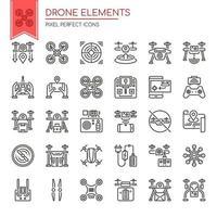 Conjunto de elementos de linha fina preto e branco Drone vetor