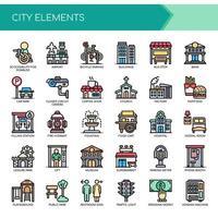 Conjunto de elementos de cidade de linha fina de cor vetor