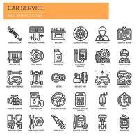 Conjunto de linha fina carro serviço preto e branco ícones vetor