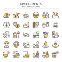 Conjunto de elementos de spa Duotone linha fina vetor