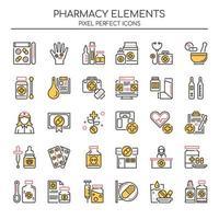 Conjunto de elementos de farmácia de linha fina de cor vetor