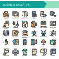 Conjunto de ícones de escritório de negócios de linha fina de cor vetor