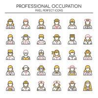 Conjunto de ícones femininos de ocupação de linha fina Duotone vetor