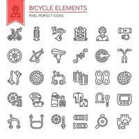 Conjunto de elementos de bicicleta de linha fina preto e branco vetor