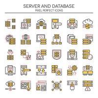 Conjunto de servidor de linha fina Duotone e ícones de banco de dados vetor