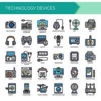 Conjunto de ícones de dispositivos de tecnologia de linha de cor Think
