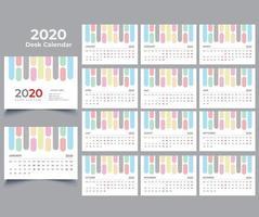 Calendário de mesa 2020 vetor