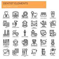 Conjunto de ícones dentais de linha fina preto e branco vetor