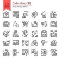 Conjunto de ícones de análise de dados de linha fina preto e branco