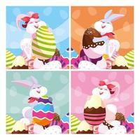 conjunto de cartões com coelhos e ovos de páscoa