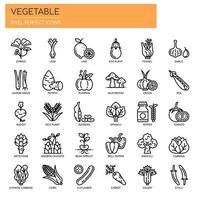 Conjunto de ícones de vegetais de linha fina preto e branco vetor