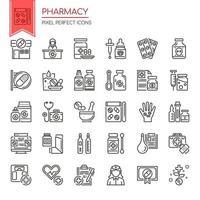Conjunto de ícones de farmácia de linha fina preto e branco vetor