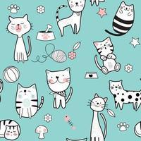Gato bonito azul padrão sem emenda vetor