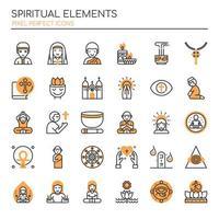Conjunto de elementos espirituais de linha fina Duotone vetor