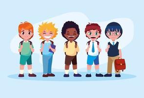 aluno menino pronto para a escola vetor