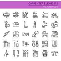 Conjunto de elementos de carpinteiro de linha fina preto e branco vetor