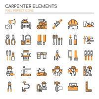 Conjunto de elementos de carpinteiro de linha fina Duotone vetor