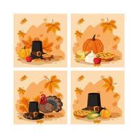conjunto de chapéu de peregrino de dia de ação de Graças