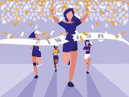 corredor feminino terminar corrida vetor