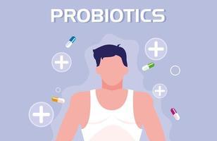 corpo de homem com cápsulas medicamentos probióticos vetor