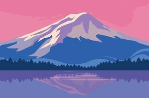 Pôr do sol sobre a cena do lago vetor
