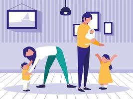 família em casa avatar vetor