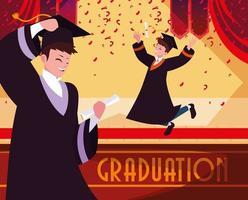 Alunos de graduação comemorando