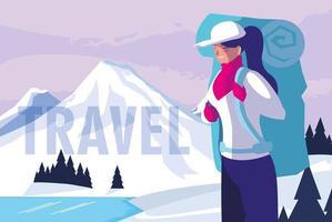 natureza de neve com viajante