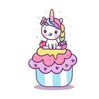 Unicórnio fofo no cupcake vetor