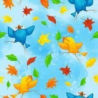 Sem costura padrão outono com pássaros engraçados dançando