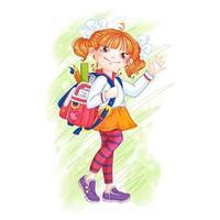 Menina da escola com uma maleta vetor