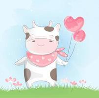 Vaca bebê fofo em aquarela