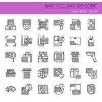 Conjunto de ícones de código de barras e QR de linha fina de preto e branco vetor