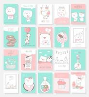 Cartões de animais fofos mão estilo desenhado