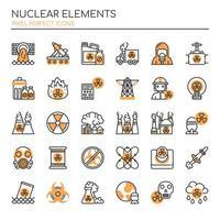 Conjunto de elementos nucleares de linha fina Duotone vetor