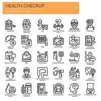 Conjunto de ícones de verificação de exame de saúde de linha fina preto e branco vetor